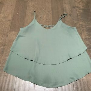 Annabelle Tops - Annabella Olive Green Layered Tank